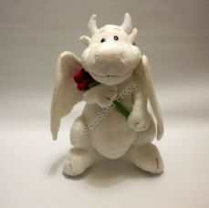 White Dragon holding a Red Rose
